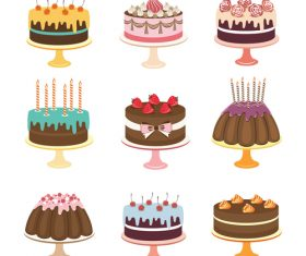 Retro cake cakes illustration vector 01