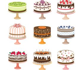 Retro cake cakes illustration vector 02