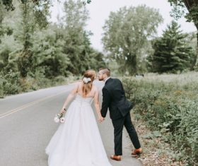 Road wedding photo Stock Photo