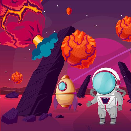 Robot universe adventure vector