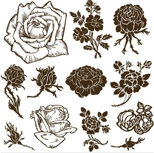 Rose Ornate Elements vector