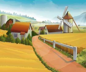Rural farm landscapes vector design 03