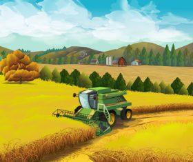 Rural farm landscapes vector design 04