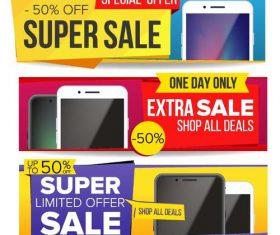 Sale discount banners vector set 03