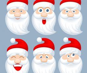 Santa emotions vector illustration set