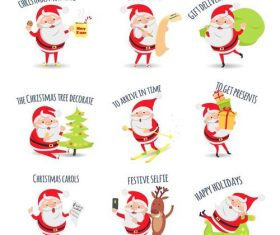 Santa illustration with christmas gift vector 01