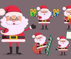 Santa illustration with christmas gift vector 03