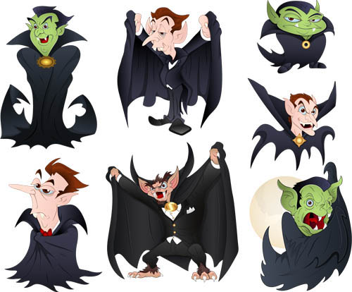 Scary Cartoon Characters vector set