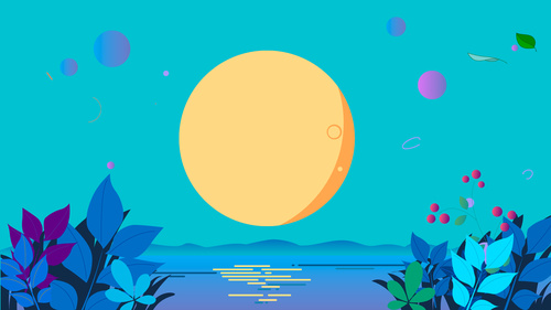 Sea bright moon vector background material