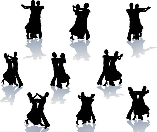Set Dancing couples silhouette vector
