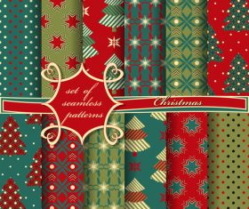 Set of seamless pattern christmas vectors 04