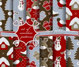 Set of seamless pattern christmas vectors 05