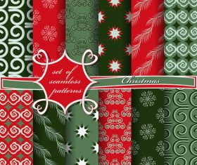 Set of seamless pattern christmas vectors 09