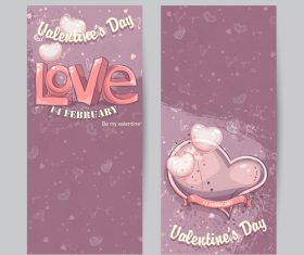 Set of vertical cards for valentine day vector 01