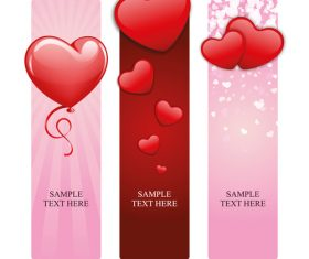 Set of vertical cards for valentine day vector 02