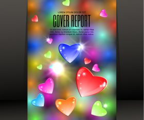 Shing heart with black report cover vector 02