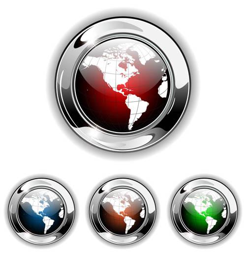 Shiny Globe Buttons 1 vectors
