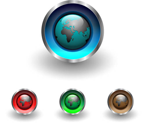 Shiny Globe Buttons 2 vector