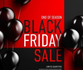 Shiny balloons with black firday sale poster vector 01
