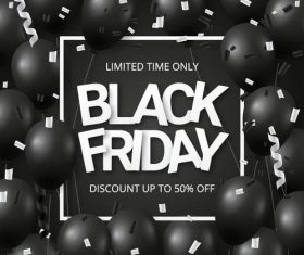 Shiny balloons with black firday sale poster vector 02