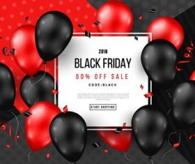 Shiny balloons with black firday sale poster vector 03