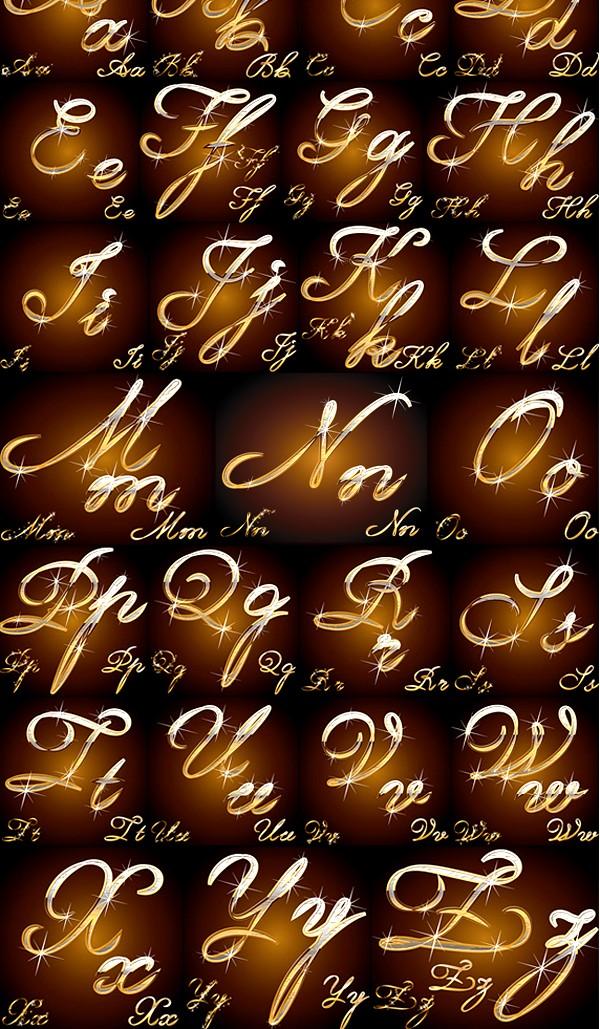 Shiny metal texture Alphabet vector