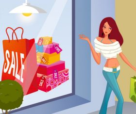 Shopping scene fashion men and women vector illustration 01