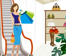 Shopping scene fashion men and women vector illustration 02