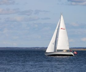 Small sailing boat at sea Stock Photo 01