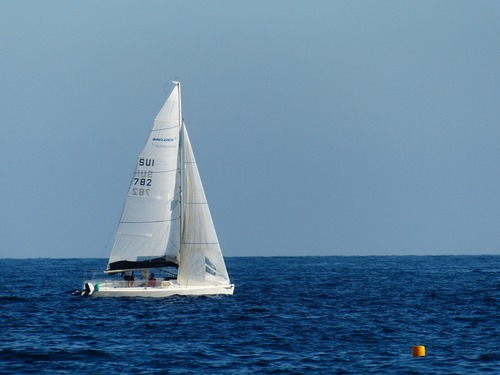 Small sailing boat at sea Stock Photo 02