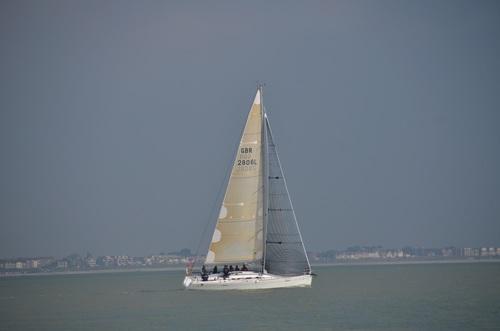 Small sailing boat at sea Stock Photo 03