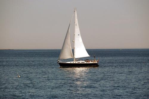 Small sailing boat at sea Stock Photo 04