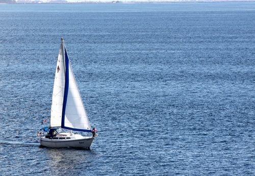 Small sailing boat at sea Stock Photo 05