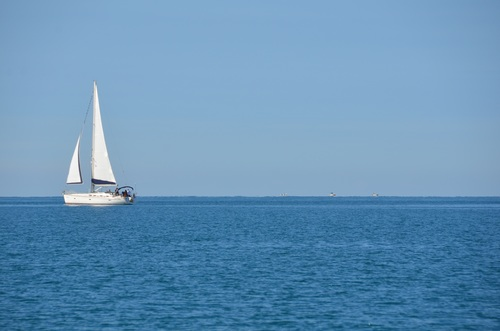 Small sailing boat at sea Stock Photo 06