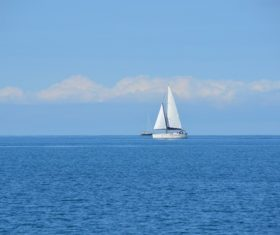 Small sailing boat at sea Stock Photo 07