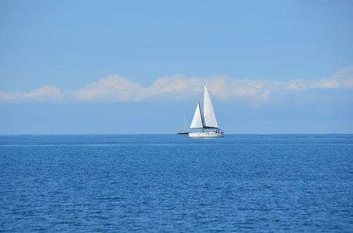 Small sailing boat at sea Stock Photo 07