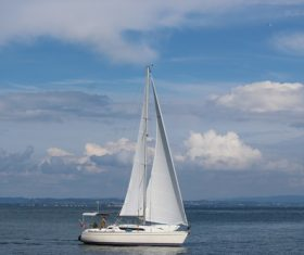 Small sailing boat at sea Stock Photo 08