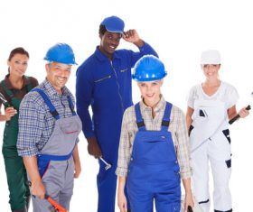 Smiling construction worker Stock Photo 02