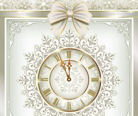 Snow with clock christmas vector material