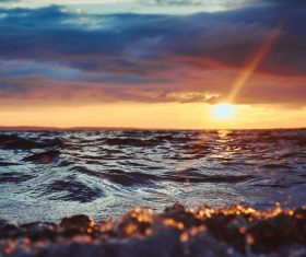 Spectacular beautiful sea sunrise Stock Photo
