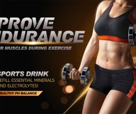 Sports drink advertising template vector 01