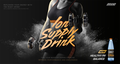 Sports drink advertising template vector 02