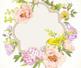 Spring flower with birds hand drawing vectors 04