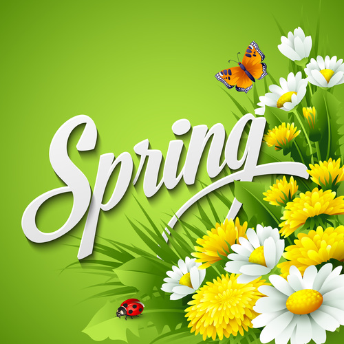 Spring Flower With Green Background Vector 01 Free Download