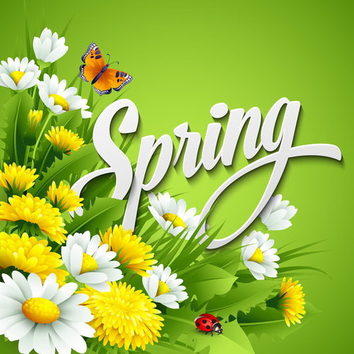 Spring Flower With Green Background Vector 02 Free Download