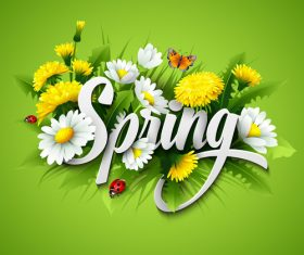 Spring flower with green background vector 03