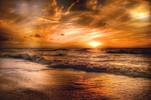 Stock Photo Beach at dusk