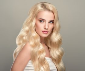 Stock Photo Beautiful girl with wavy white hair 01