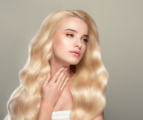 Stock Photo Beautiful girl with wavy white hair 03