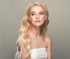 Stock Photo Beautiful girl with wavy white hair 04